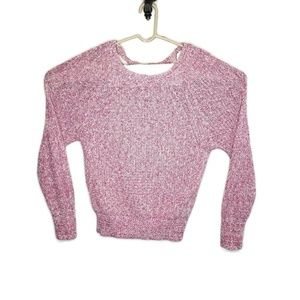 Free People Womens Pullover Sweater Pink White